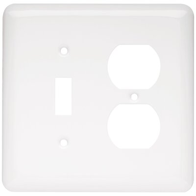 Stamped Round Single Switch Gang Duplex Wall Plate Color: White