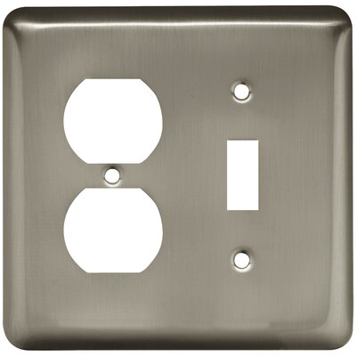 Stamped Round Single Switch Gang Duplex Wall Plate Color: Satin Nickel