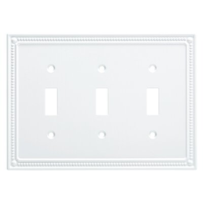 Classic Beaded Triple Switch Wall Plate Finish: Pure White