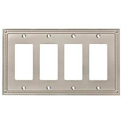 Classic Beaded Quad Decorator Wall Plate Finish: Satin Nickel