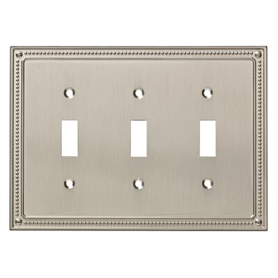 Classic Beaded Triple Switch Wall Plate Finish: Satin Nickel