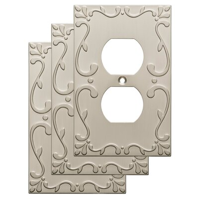 Classic Lace 1 Gang Duplex Wall Plate Finish: Satin Nickel