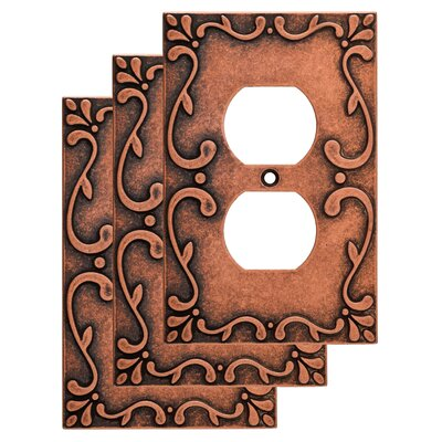 Classic Lace 1 Gang Duplex Wall Plate Color: Sponged Copper