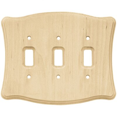 Wood Scalloped Triple Switch Wall Plate