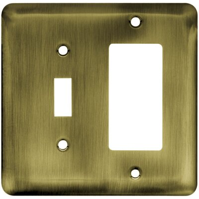 Stamped Steel Round Single Switch/Decorator Wall Plate Finish: Antique Brass