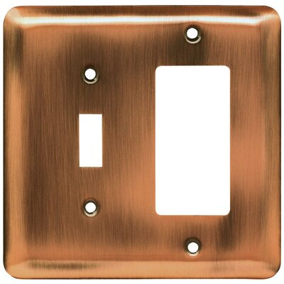 Stamped Steel Round Single Switch/Decorator Wall Plate Finish: Antique Copper