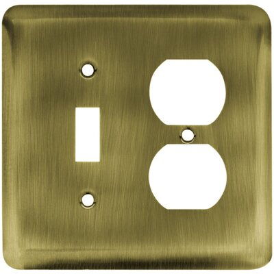 Stamped Steel Round Single Switch/Duplex Finish: Antique Brass