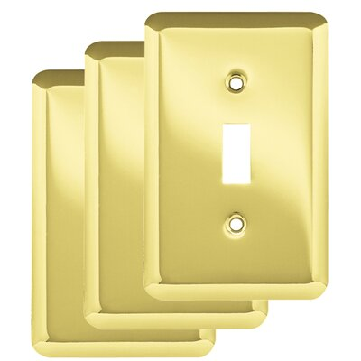 Stamped Round Single Switch Wall Plate Color: Polished Brass