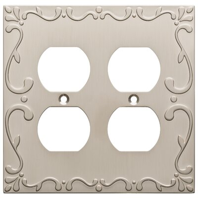 Classic Lace 2 Gang Duplex Wall Plate Finish: Satin Nickel