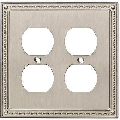 Classic Beaded 2 Gang Duplex Wall Plate Color: Satin Nickel