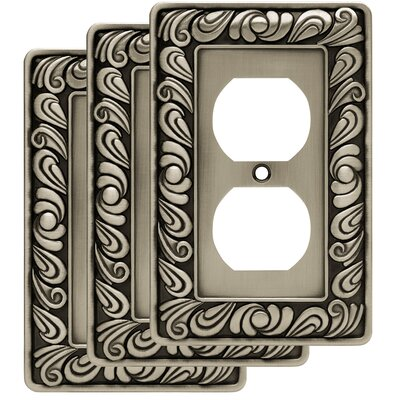 Paisley 1 Gang Duplex Wall Plate Finish: Brushed Satin Pewter