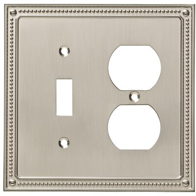 Classic Beaded Single Switch Gang Duplex Wall Plate Finish: Satin Nickel