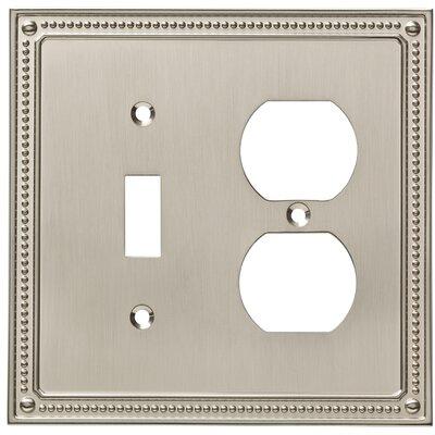Classic Beaded Single Switch Gang Duplex Wall Plate Finish: Satin Nickel