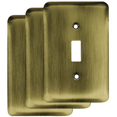 Stamped Round Single Switch Wall Plate Color: Antique Brass