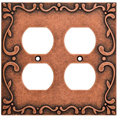 Classic Lace 2 Gang Duplex Wall Plate Finish: Sponged Copper