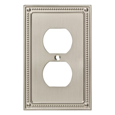 Classic Beaded 1 Gang Duplex Wall Plate Color: Satin Nickel