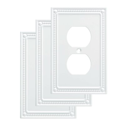 Classic Beaded 1 Gang Duplex Wall Plate Finish: Pure White