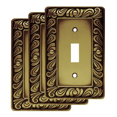 Paisley Single Switch Wall Plate Color: Tumbled Antique Brass