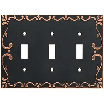 Classic Lace Triple Switch Wall Plate Finish: Bronze/Copper