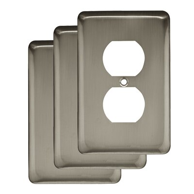 Stamped Round 1 Gang Duplex Wall Plate Finish: Satin Nickel