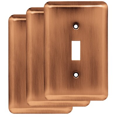 Stamped Round Single Switch Wall Plate Finish: Antique Copper