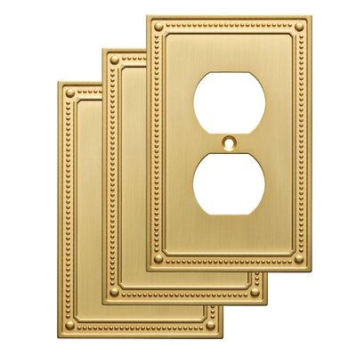 Classic Beaded 1 Gang Duplex Wall Plate Finish: Brushed Brass