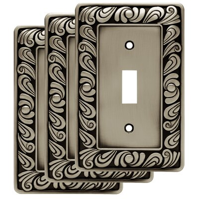 Paisley Single Switch Wall Plate Color: Brushed Satin Pewter