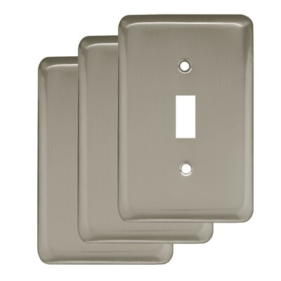 Stamped Round Single Switch Wall Plate Finish: Satin Nickel