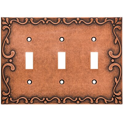 Classic Lace Triple Switch Wall Plate Finish: Sponged Copper