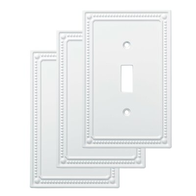 Classic Beaded Single Switch Wall Plate Finish: Pure White