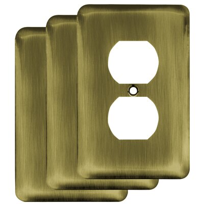 Stamped Round 1 Gang Duplex Wall Plate Finish: Antique Brass