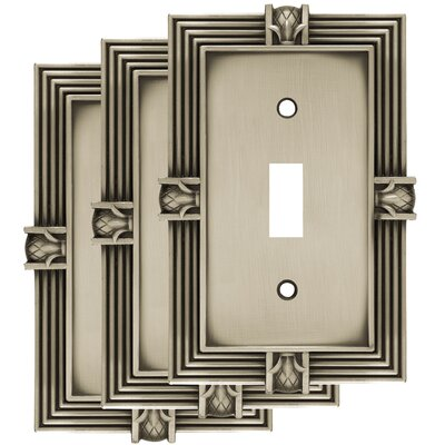 Pineapple Single Switch Wall Plate Color: Brushed Satin Pewter