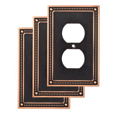 Classic Beaded 1 Gang Duplex Wall Plate Color: Bronze/Copper