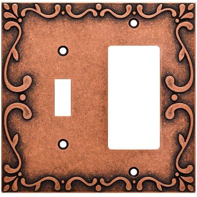 Classic Lace Single Switch Decorator Wall Plate Finish: Sponged Copper