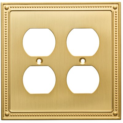 Classic Beaded 2 Gang Duplex Wall Plate Finish: Brushed Brass