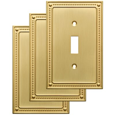 Classic Beaded Single Switch Wall Plate Color: Brushed Brass