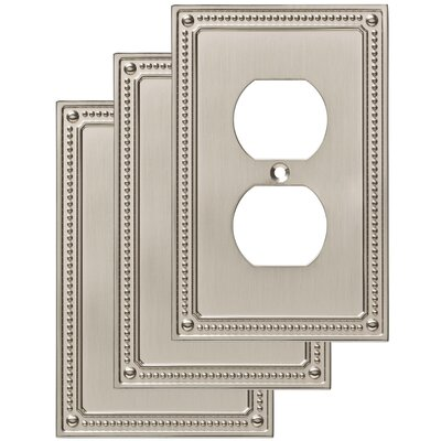 Classic Beaded 1 Gang Duplex Wall Plate Finish: Satin Nickel
