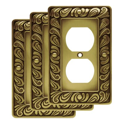 Paisley 1 Gang Duplex Wall Plate Finish: Tumbled Antique Brass