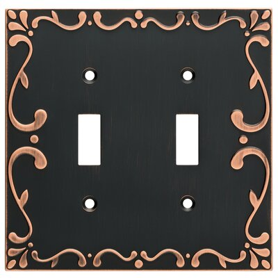 Classic Lace Double Switch Wall Plate Finish: Bronze/Copper