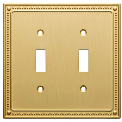Classic Beaded Double Switch Wall Plate Finish: Brushed Brass