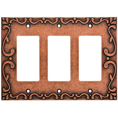 Classic Lace Triple Decorator Wall Plate Finish: Sponged Copper