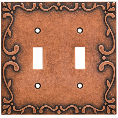 Classic Lace Double Switch Wall Plate Finish: Sponged Copper