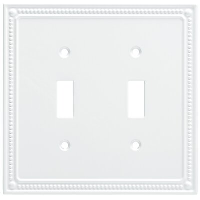 Classic Beaded Double Switch Wall Plate Color: Pure White