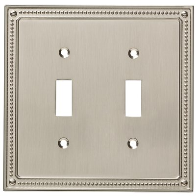 Classic Beaded Double Switch Wall Plate Finish: Satin Nickel