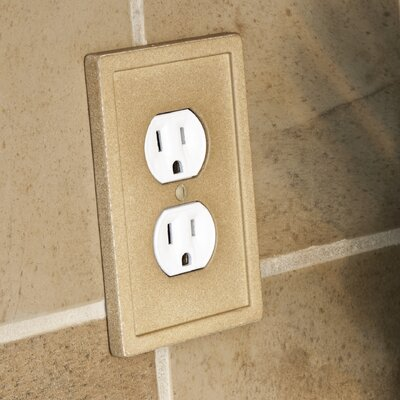 Tile Single Duplex Wall Plate Finish: Dark Sand