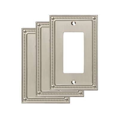 Classic Beaded Single Decorator Wall Plate Color: Satin Nickel