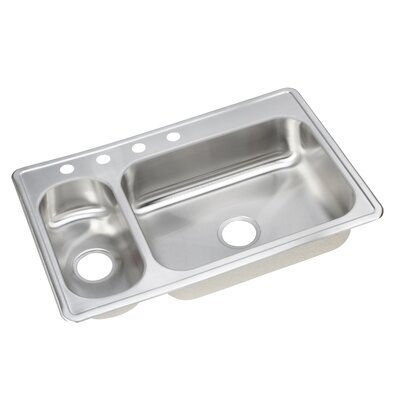 Dayton 33 x 22 Elite Double Bowl Kitchen Sink Bowl Configuration: Left, Faucet Drillings: 3 Hole