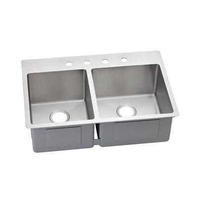 Avado 33 x 22 Slim Rim Kitchen Sink Faucet Drillings: 3 Holes, Bowl Configuration: Left