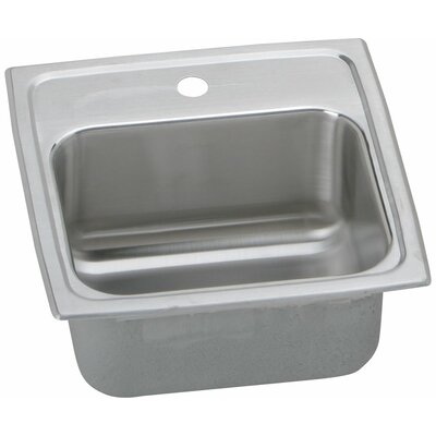 Gourmet 15 x 15 x 7.13 Top Mount Kitchen Sink with Faucet Faucet Drillings: 2 Hole