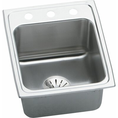 Lustertone 17 x 22 Drop-In Kitchen Sink with Drain Assembly Faucet Drillings: 2 Hole